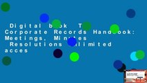 Digital book  The Corporate Records Handbook: Meetings, Minutes   Resolutions Unlimited acces