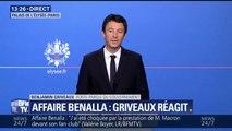 """Benjamin Griveaux reconnaît qu'Alexandre Benalla """"est clairement sorti de son rôle d'observateur"""" le 1er-mai"""