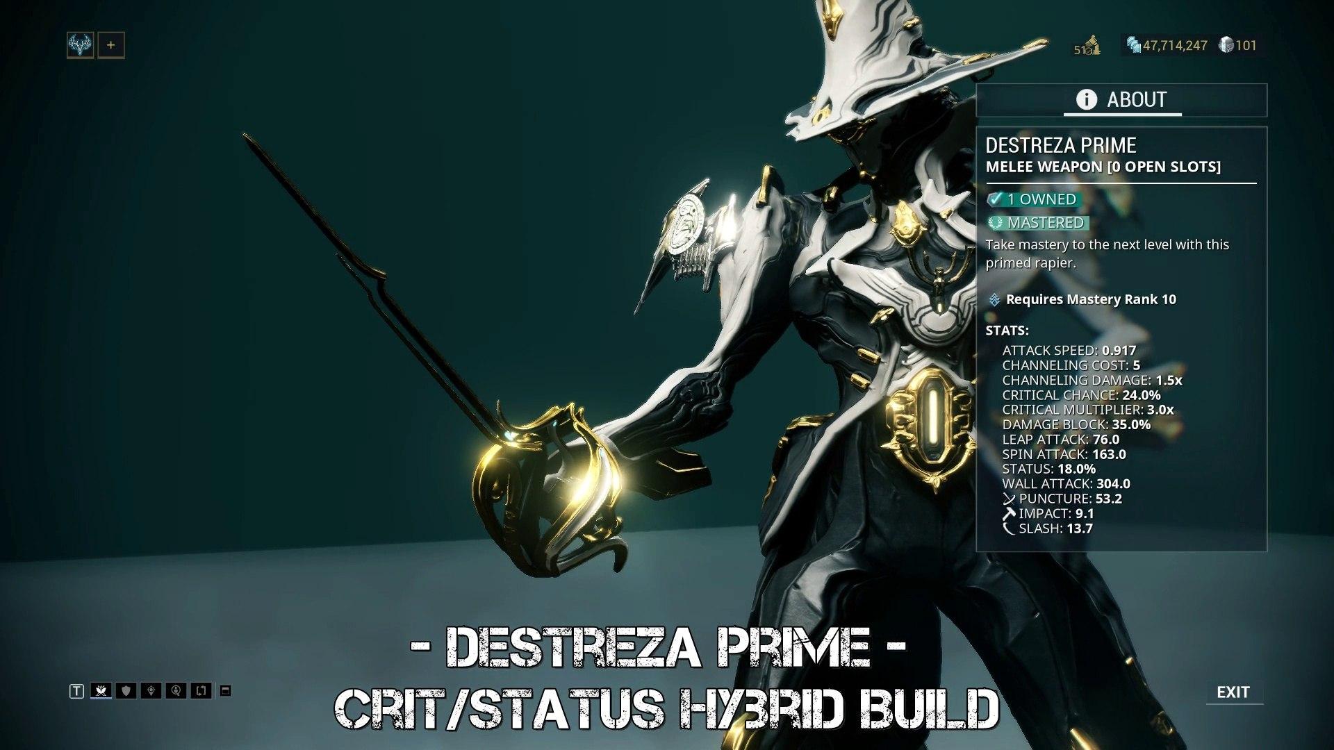 Warframe: Destreza Prime - Crit/Status Hybrid Build - Update 23 0 7+