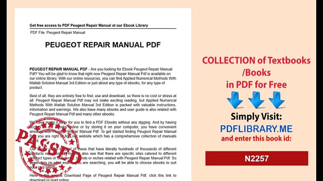 Peugeot Repair Manual