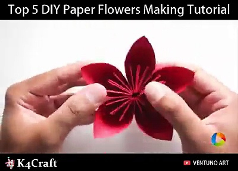5 Diy Paper Flowers Craft Video Tutorial Via Art All The Way