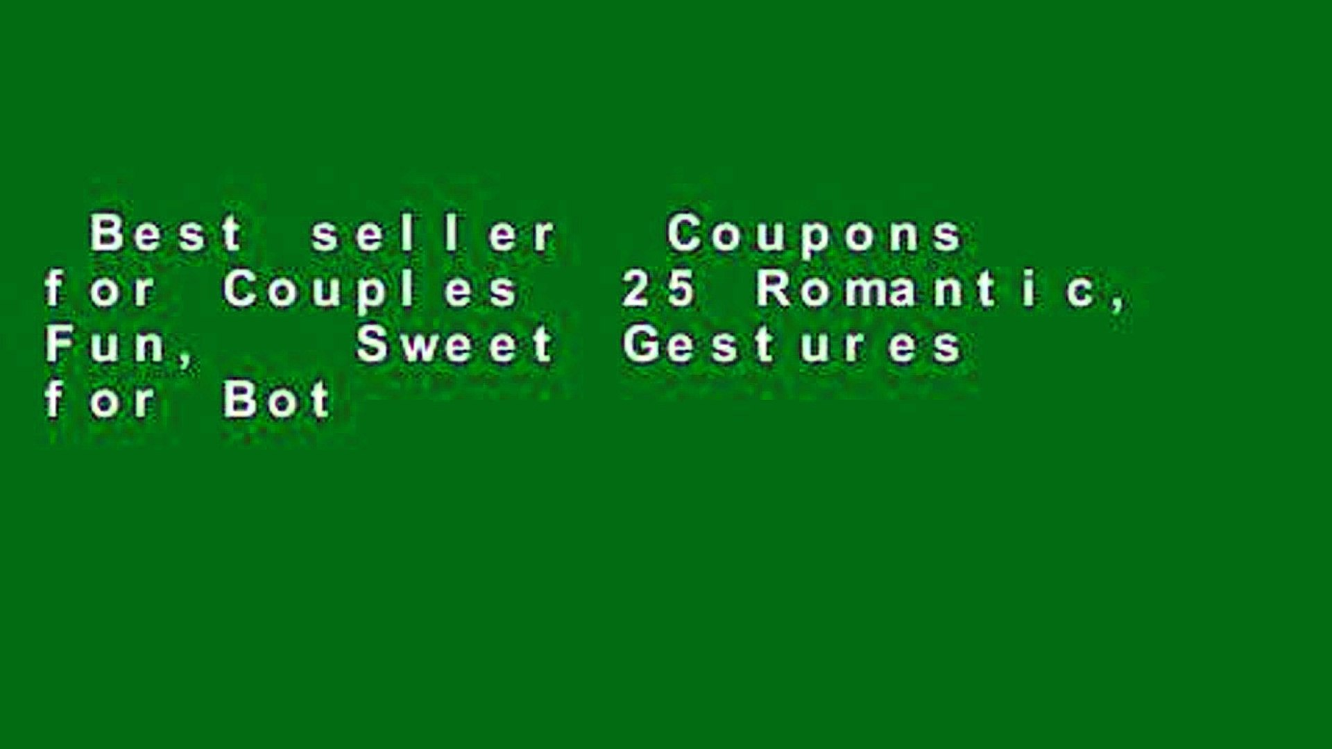 Best seller  Coupons for Couples  25 Romantic, Fun,   Sweet Gestures for Both of You: Coupon Book