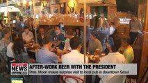 S. Korean President Moon Jae-in enjoys cold beer with Korean people at local pub