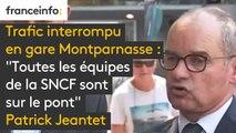 """Trafic interrompu en gare Montparnasse : """"Toutes les équipes de la SNCF sont sur le pont. On s'excuse pour la gêne occasionnée"""", réagit Patrick Jeantet, PDG de SNCF Réseau"""