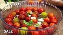 Tomaten entwickeln, wenn sie gebacken werden, einen sehr intensiven und himmlischen Geschmack. Zusammen mit dem cremigen Inneren des Burrata ergibt sich eine wa