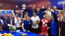 Croatian President Celebrate with Croatian Players After Win in Russia World Cup 2018