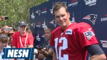 New England Patriots quarterback Tom Brady addresses the media for the first time in the 2018 NFL season after Pats training camp practice on Saturday at Gillette Stadium. For more: https://nesn.com/new-england-patriots/