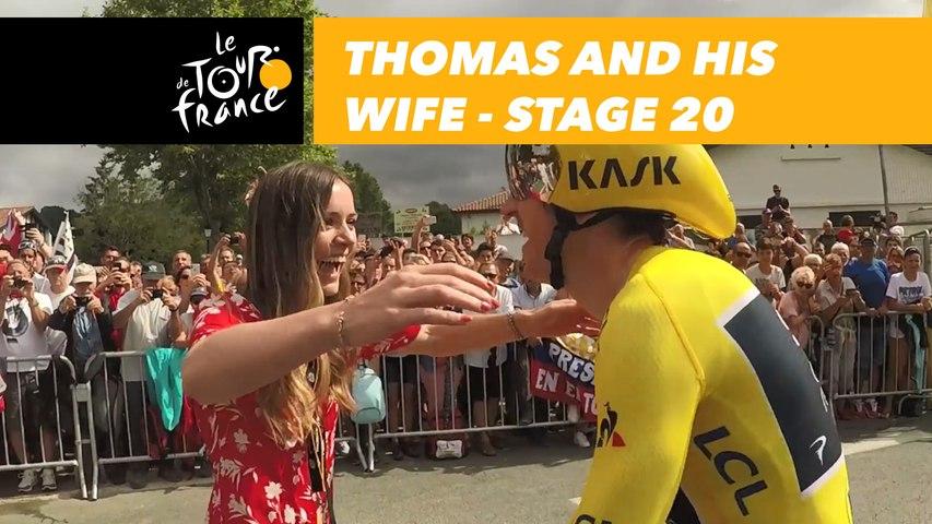 Geraint Thomas retrouve sa femme sur la ligne / meets his wife at the finish - Étape 20 / Stage 20 - Tour de France 2018