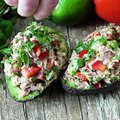 This Healthy Tuna Stuffed Avocado is stuffed with a flavorful southwest mixture of tuna, bell pepper, jalapeno, and cilantro. No mayo necessary here! It's the p