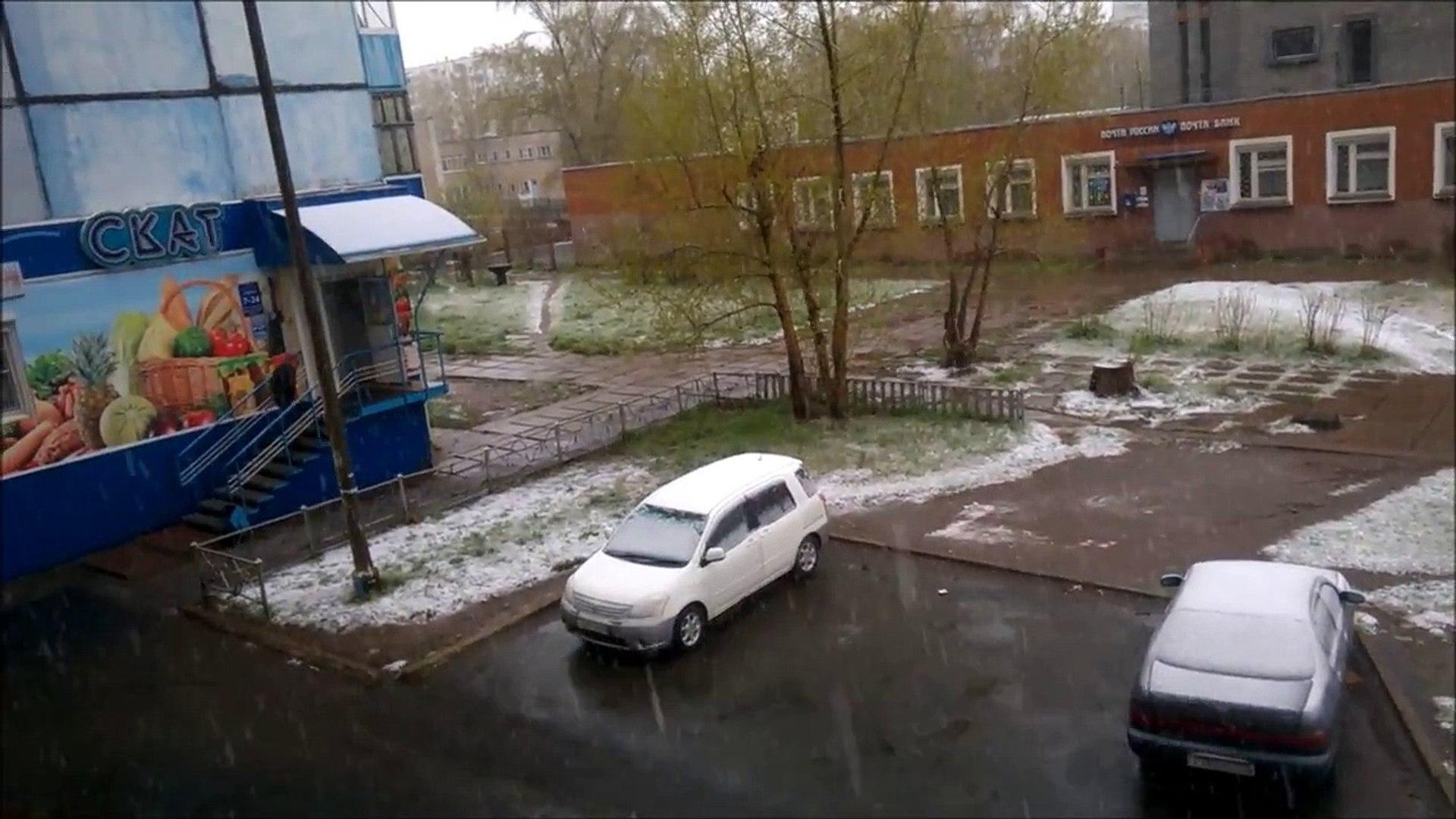 2018-05-20 Snow in May. Bratsk, Siberia, Russia Снег в мае Братск Сибирь Россия