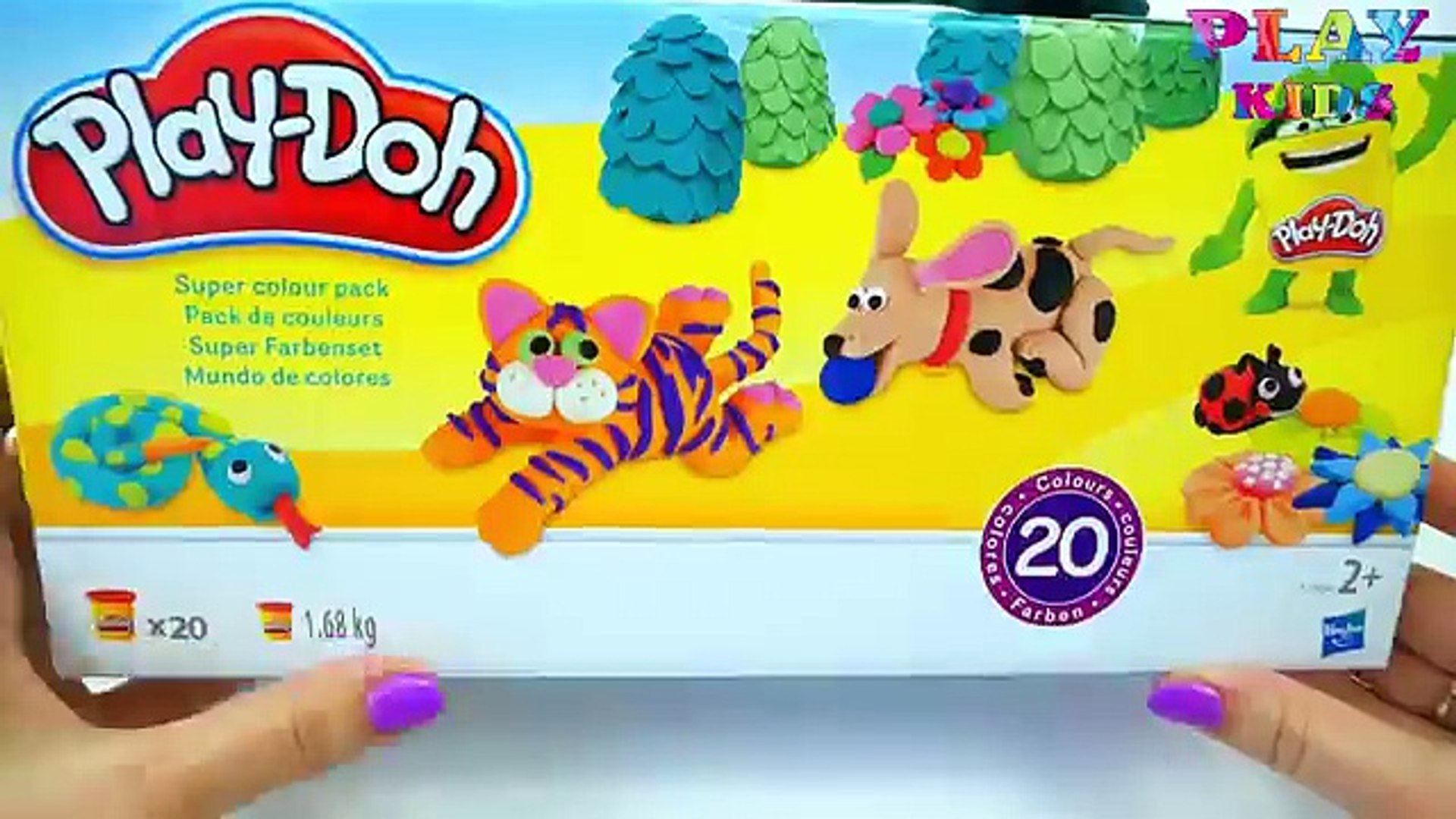 Learning colors with 20 Play-Doh | Unboxing 20 Play-Doh for kids | Play kids