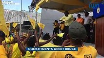 Constituents react to the introduction of Israel Bruce at the New Democratic Party's (#NDPSVG) 40th convention rally in #Greiggs, #StVincent on 3 June 2018