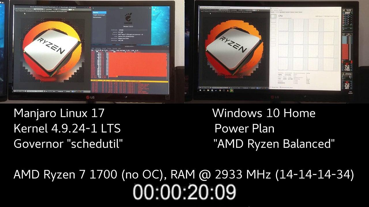 Windows vs  Linux - AMD Ryzen 7 1700 Blender Benchmark