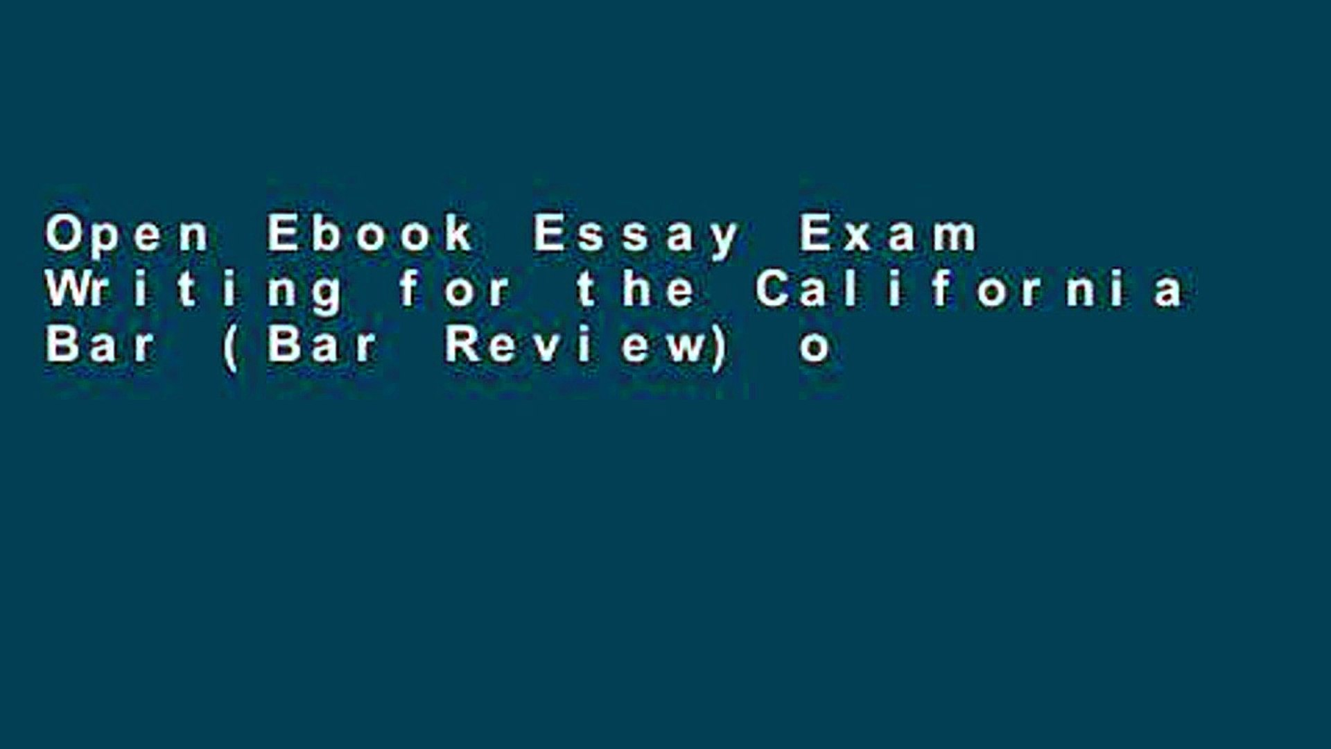 Open Ebook Essay Exam Writing for the California Bar (Bar Review) online