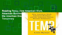 Reading Temp: How American Work, American Business, and the American Dream Became Temporary