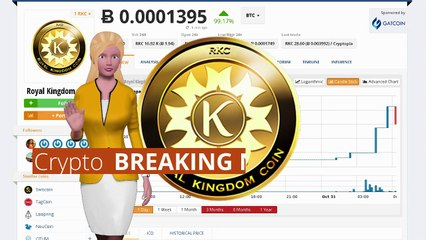 Cryptocurrency Royal Kingdom Coin $RKC Surged 99% Over the Last 24 Hours