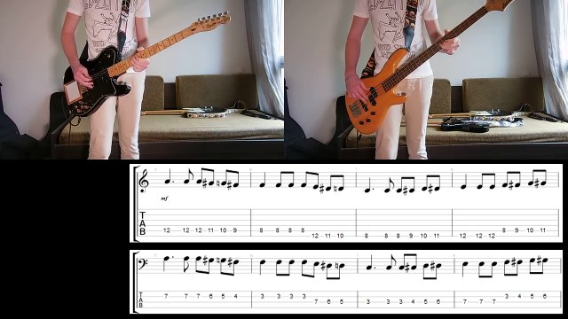Muse - Thought Contagion Guitar and Bass cover with tabs