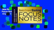 New Releases Investment Banking: Focus Notes (Wiley Finance)  Any Format