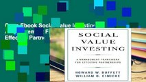 Open Ebook Social Value Investing: A Management Framework for Effective Partnerships (Columbia