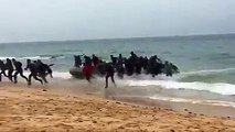 【Video】A vessel filled with over 30 illegal migrants landed on a Spanish beach on Friday, while being pursued by a police boat. The migrants quickly scattered a