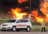 Fire Engulfs Warehouse Next to Filling Station in Gallup, New Mexico