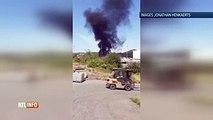 Important incendie derrière l'usine Aperam à Châtelet