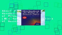 About For Books  MLA Handbook for Writers of Research Papers (Mla Handbook for Writers of Research