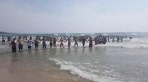 Ils forment une incroyable chaine humaine pour sauver des personnes de la noyade