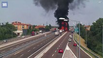 New CCTV shows moment gas tanker plowed into back of a truck, sparking explosion that left one dead and scores injured in Italy