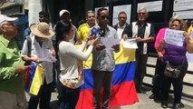La organización política Colombia Humana realiza una concentración por la vida y La Paz en este país. Desde el Consulado de Colombia en Caracas Venezuela