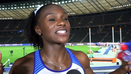 Dina Asher Smith (GBR) after winning Gold in the 100m