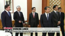 President Moon discussing North Korea and economy over lunch with national leaders