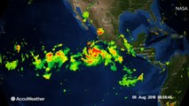 Satellite passes directly over Tropical Storm John off coast of Mexico