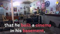 Nothing can get in the way of this man's love for movies. When all cinemas closed down in his city, he built one in his own basement.