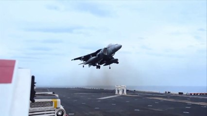 AV-8B Harrier no nose gear vertical landing on padded stool