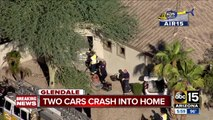 Two cars crash into home in Glendale