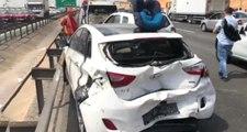 TEM'de Zincirleme Kaza! 5 Araç Birbirine girdi, 2 Kişi Yaralandı