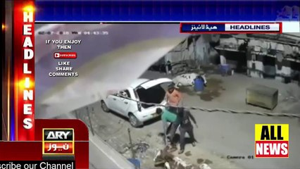 Ary News Headlines | Video caught on cctv at mid night on road | Catch Thief in Pakistan