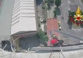 Helmet Cam Captures View of Emergency Crew Working on Genoa Bridge