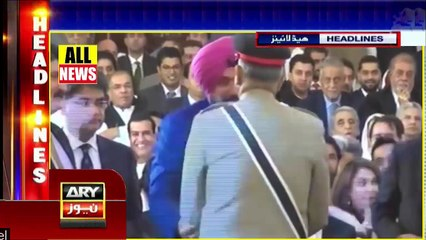 Ary News Headlines | Indian Media Reaction over navjot singh sidhu meeting with qamar javid bajwa