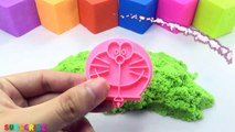 DIY How To Make Kinetic Sand Rainbow DUMBBELLL Play Doh Toys Mad Mattr - Learning Colours For Kids
