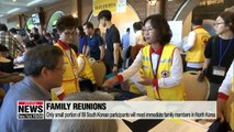 South Korean participants meeting families in North Korea gather in Sokcho
