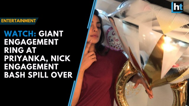 Watch: Giant engagement ring at Priyanka, Nick engagement bash spill over