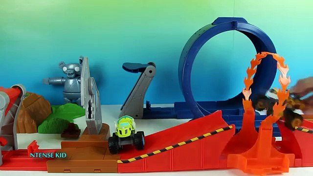 Blaze and the Monster Machines Toys Parody with Wrecking Crane Blaze and Cannon Blast Crus