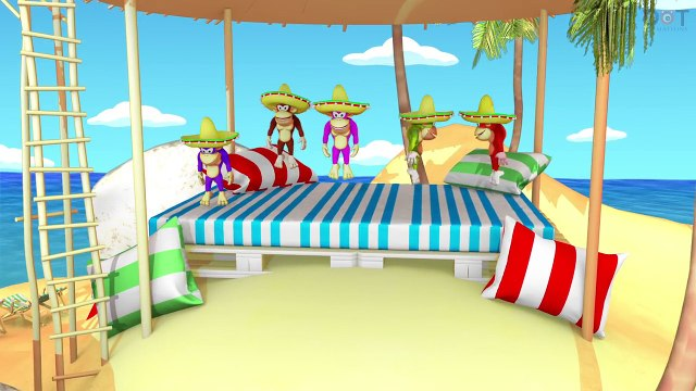 Five Little Monkeys Jumping On The Bed Hawaii | Nursery Rhymes | Bubbly Dots 3D