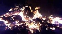 Incendie de 2000 bottes de paille à Schweighouse-Thann (Vidéo DNA/Fred Stenger)
