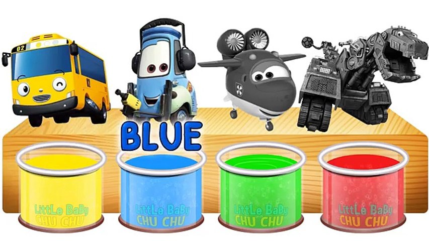 Bathing Colors, Little bus Cars, Super wings, Dino trucks Learn colors