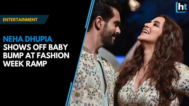 Neha Dhupia shows off baby bump at Lakme Fashion Week ramp