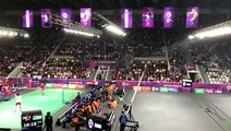 Most cheers come from the badminton men's team competition between hosts Indonesia and China with President Joko Widodo on the scene at #AsianGames.