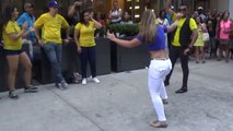 Brazilian Girl Dances a Wild Fast Brazilian Samba Street Dance